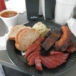 Pecan smoked ribs and sausage