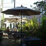 The tiny patio at Alchemy Bistro
