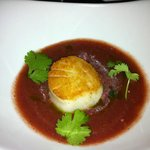 Cilantro & cucumber gazpacho w/ seared scallop & pickled watermelon salad from 'Field to Fork' m