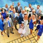 Wedding photos at the pool