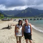 My wife and niece in front of the Hanalei Pier.