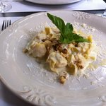 Fragottini with pear and cheese