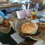 the burger & onion rings