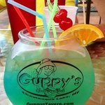 Guppy Bowl drink with keepsake fishbowl