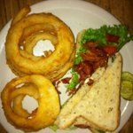 BLT on rye toast with hand battered onion rings