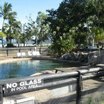 pool adjoning restaurant views to beach