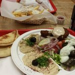 Chicken Gyro, Veg Mazzat Plate, Arabian Fries and Baklava