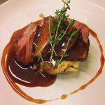 Rump of lamb with colcannon mash and rosemary jus