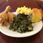 fried chicken, collard greens, mac&cheese, and cornbread