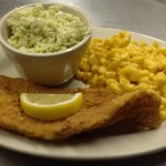fried catfish, cole slaw, and mac& cheese