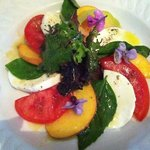 lucious caprese salad with local tomatoes, mozzarella and peaches