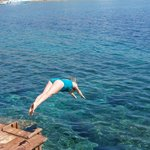 dive from private boardwalk into crystal clear waters