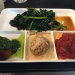 Amsterdam Veggie Ball with Pesto Sauce, Chicken with Honey Mustard Sauce, Spicy Pork with Tomato