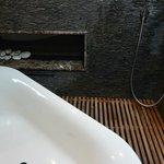 bathtub, shower, fireplace