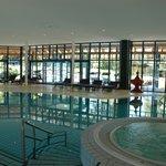 indoor pool above spa