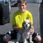 my son with Jacob, the owners sweet dog