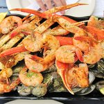 Big Bubba Steamed Platter for two: 1 dozen clam, 1 dozen oyster, 1lb shrimp, 1lb crab.