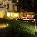 The hotel garden by night