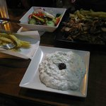 big gyros with tzatziki, half salad and fries