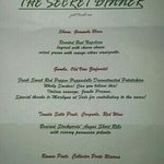 Secret dinner menu. Amazing food & wine