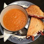 tomato fennel and Mediterranean vegetable soup and toasted goat cheese vegetarian sandwich. supe