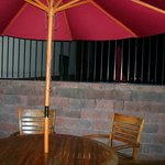 outdoor patio and umbrella seating
