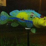 Big fish at the entry of the hotel.