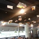 Flying books in the restaurant