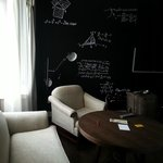 "Very cool ""blackboard"" wall!!!"