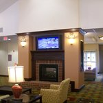Fireplace & TV in Lobby & Dining Area