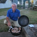 grilling the famous champion bratwurst in the back yard