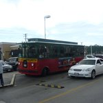 Trolley bus stopping outside the centre