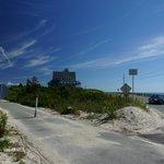 Cycle path crossing Beach Road