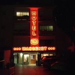 Front of hotel after dark