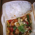 Cashew Salmon with rice (take away)