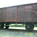 Surviving transport wagon on now dismantled rail track