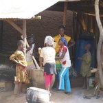 Making of fufu from boiled yam