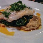 Cod ( instead of sword fish) with  white bean puree, braised kale, with chorizo, peperonata, fri