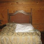 One of the beds in the cabin