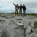 Brettons Ian and Gauthier posing on the limestone