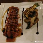 Duck breast, jus, balsamic reduction, potato rosti with veg
