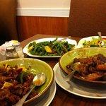 From lower left, Ginger Beef, Szechuan Green Beans with Pork, Mushroom Chop Suey, Pork Spareribs