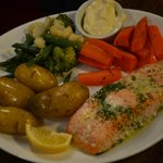 Salmon in dill butter, new potatoes and veg + pot of mayonnaise