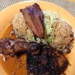jerk chicken entree and sides--delicious!