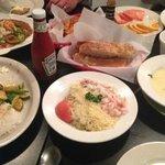 halibut dijon, crab and shrimp linguine, gumbo, fresh bread, empty steamer clams