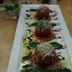 crab and cheese risotto balls