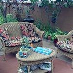 Greenhouse patio sitting area