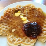 """Self Serve fresh waffles with """"real maple Syrup"""""""
