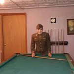 military personal playing pool