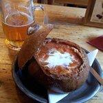 Borscht soup in bread